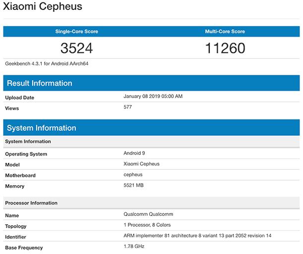 Xiaomi Mi 9, code-named Cepheus: Geekbench benchmark scores on Revu Philippines
