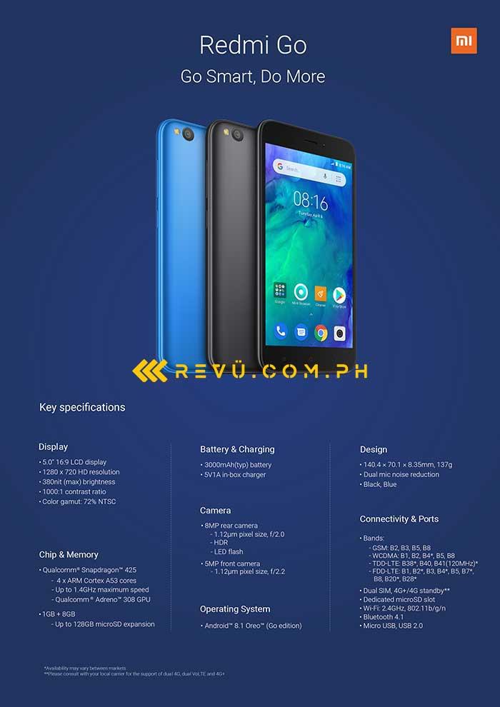 Xiaomi Redmi Go complete specs: A Revu Philippines exclusive
