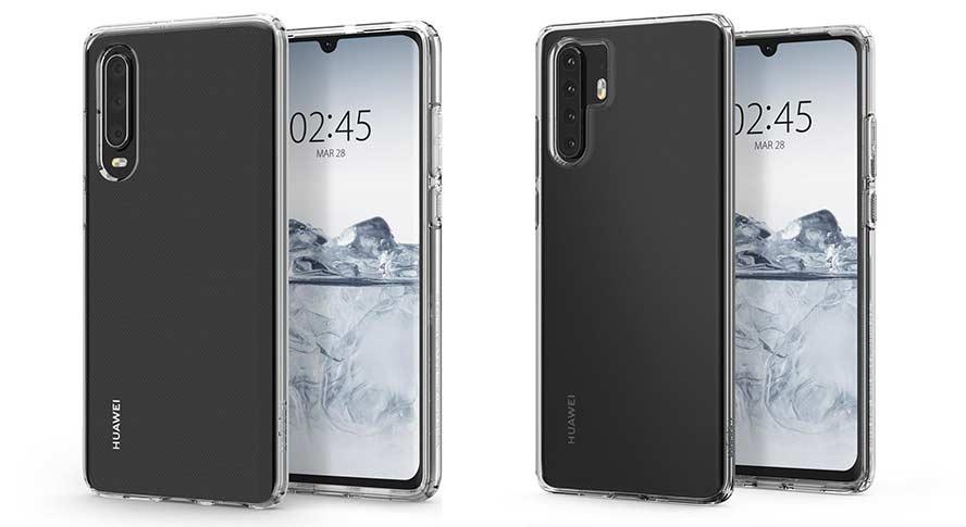 Huawei P30 and Huawei P30 Pro design leak via Spigen cases on Revu Philippines