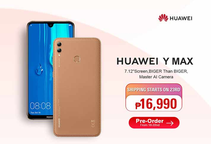 Huawei Y Max price and preorder details via Revu Philippines