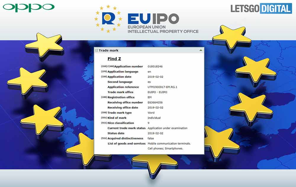 OPPO Find Z trademark application with the EU IPO via Revu Philippines
