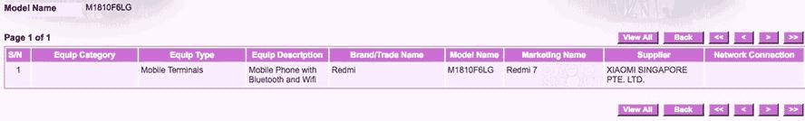 Redmi 7 certified in Singapore via Revu Philippines