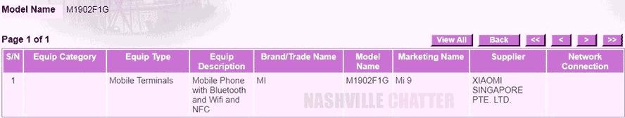 Xiaomi Mi 9 certified in Singapore via Revu Philippines