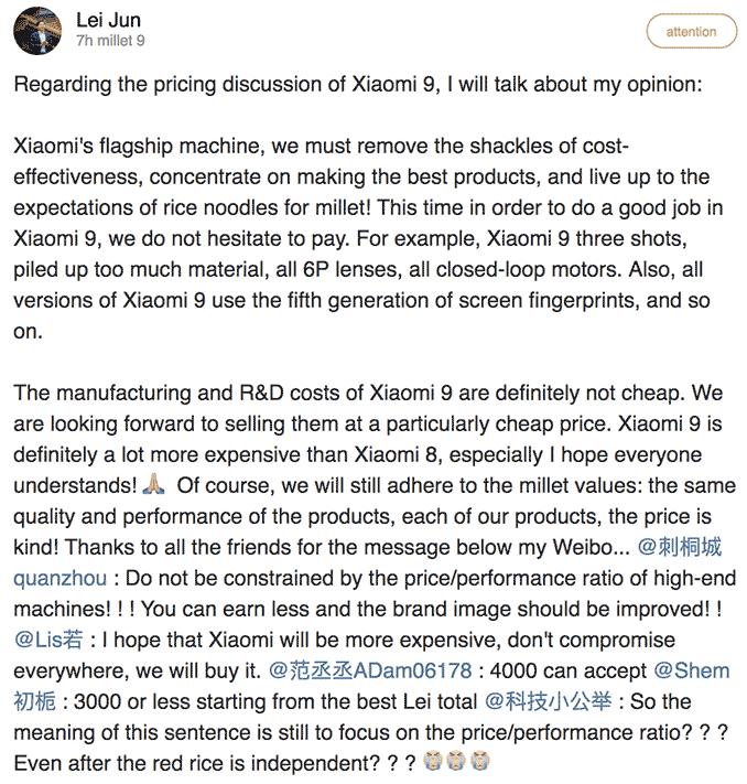 Xiaomi Mi 9's price will be higher than the Xiaomi Mi 8's at launch, CEO Lei Jun says via Revu Philippines