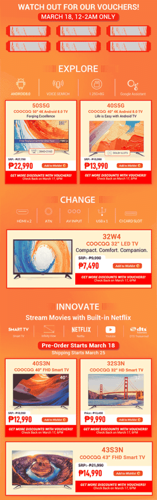 Coocaa smart TVs first sale on Lazada via Revu Philippines