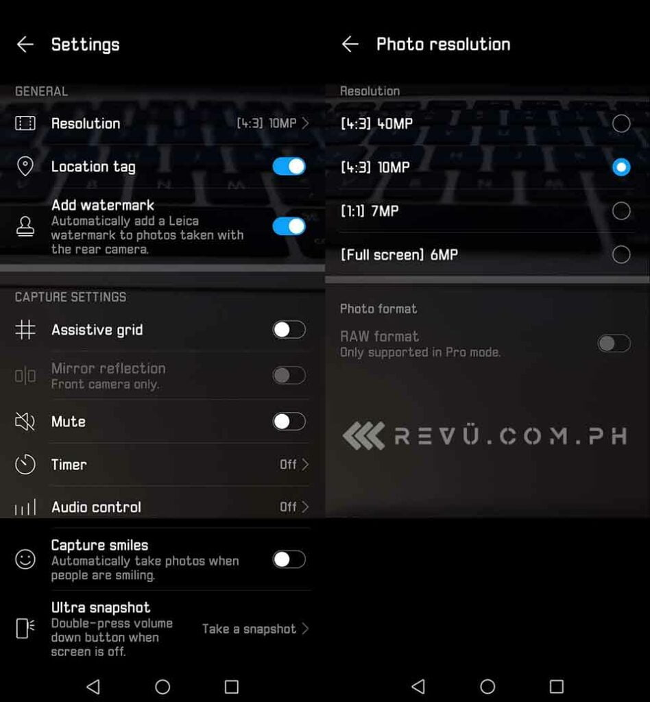 Huawei P30 Pro camera resolution setting Revu Philippines
