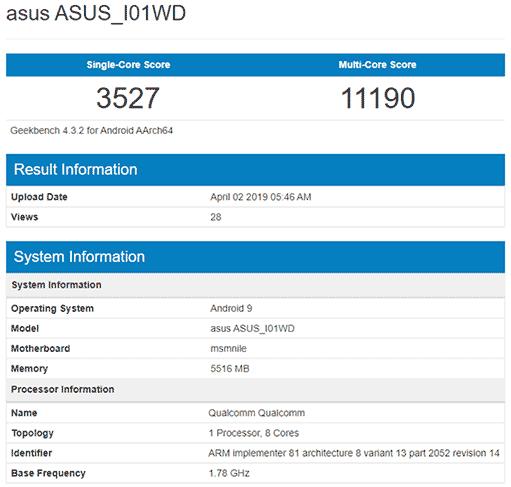 ASUS ZenFone 6 or 6Z Geekbench benchmark score leak via Revu Philippines