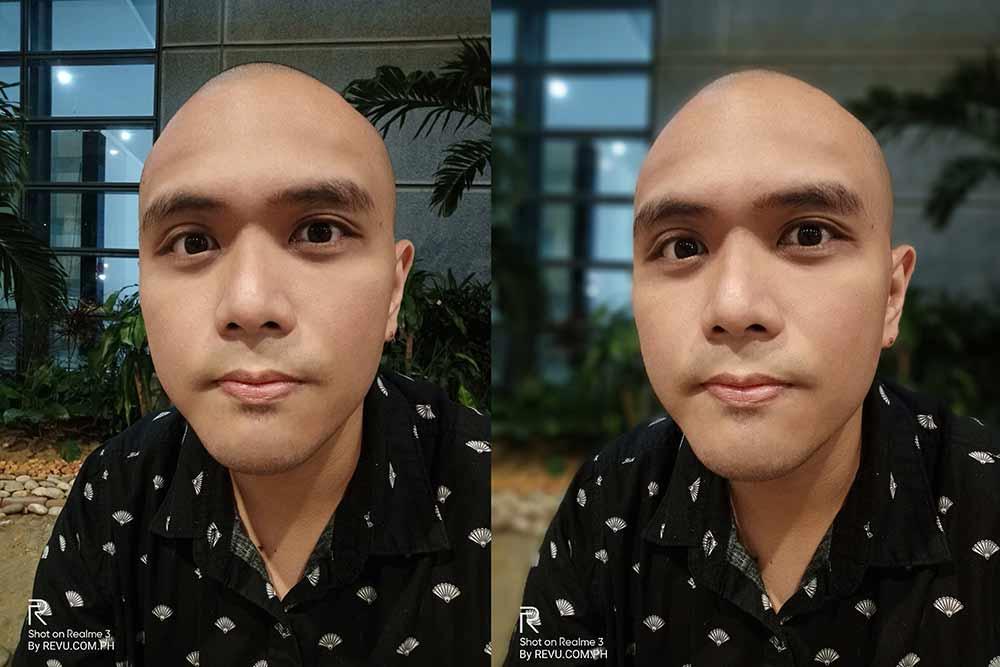 Realme 3 sample selfie picture: auto vs portrait mode or with bokeh effect by Revu Philippines