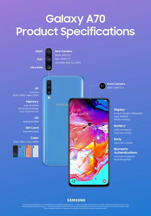 Samsung Galaxy A70 full or complete specs on Revu Philippines