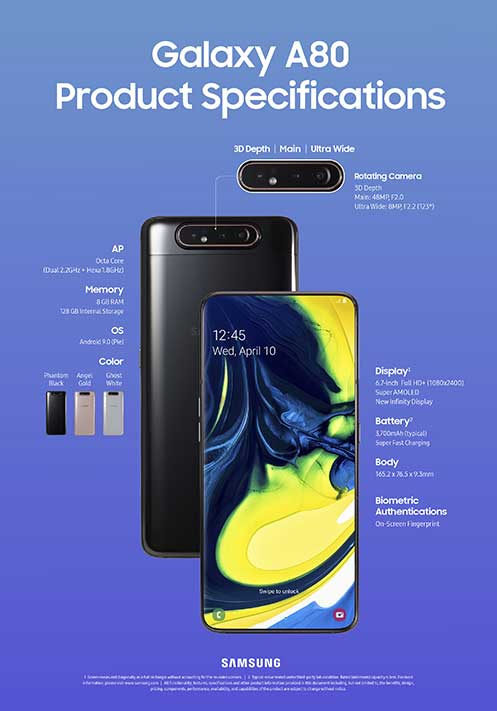 Samsung Galaxy A80 full or complete specs on Revu Philippines
