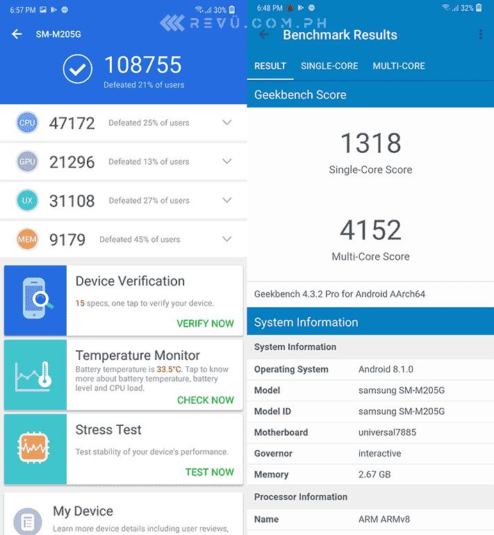 Samsung Galaxy M20 Antutu and Geekbench benchmark scores by Revu Philippines