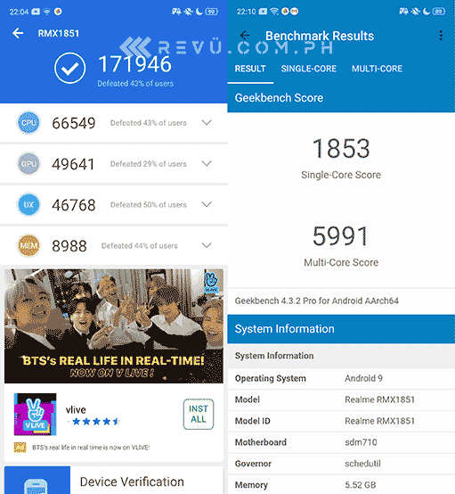 Realme 3 Pro Antutu and Geekbench benchmark scores by Revu Philippines