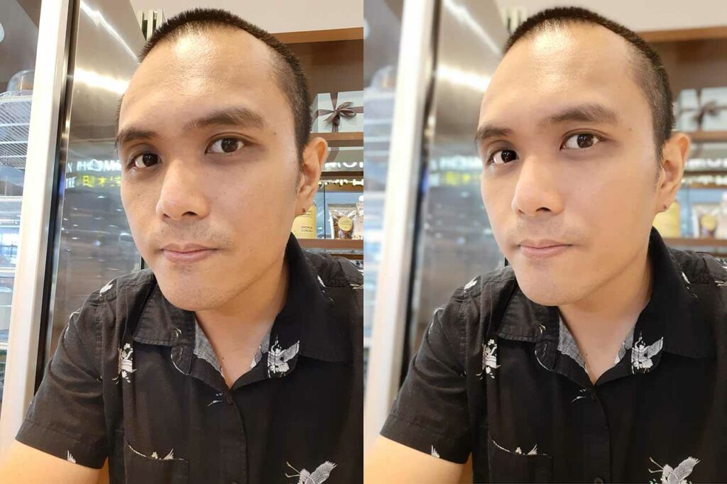 Samsung Galaxy A50 sample daytime selfie pictures: Auto mode vs portrait mode or Live Focus by Revu Philippines