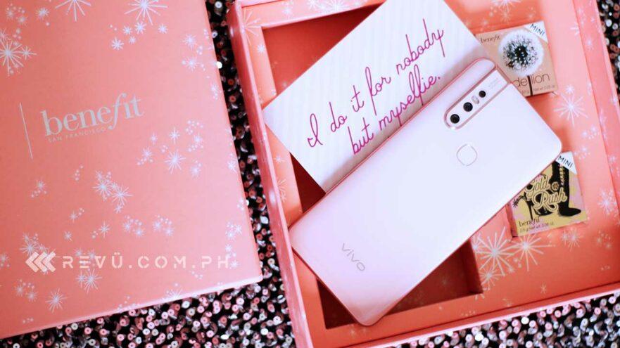 Vivo V15 Blossom Pink Limited Edition x Benefit Cosmetics Kit of Revu Philippines