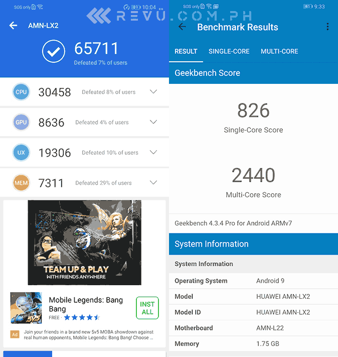 Huawei Y5 2019 Antutu and Geekbench benchmark scores by Revu Philippines