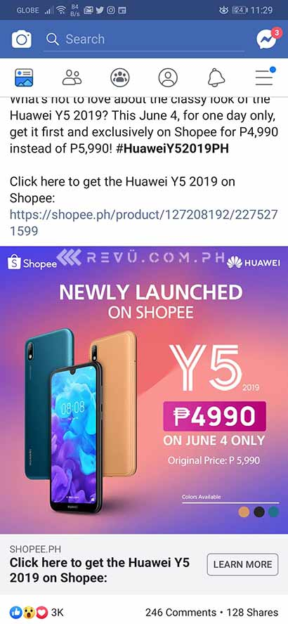 Huawei Y5 2019 promo price on Shopee plus its specs via Revu Philippines