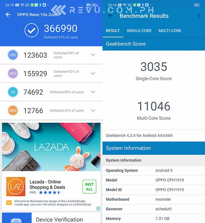 OPPO Reno 10x Zoom Edition Antutu and Geekbench benchmark scores by Revu Philippines