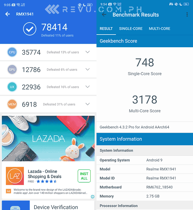 Realme C2 Antutu and Geekbench benchmark scores by Revu Philippines