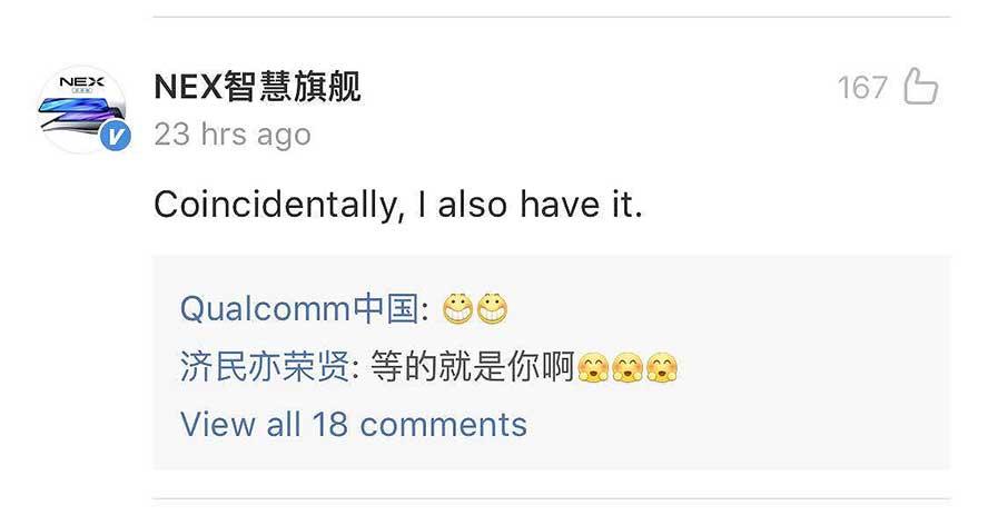 Vivo NEX Weibo account's Qualcomm Snapdragon 855 Plus comment via Revu Philippines