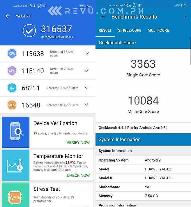 Huawei Nova 5T Antutu and Geekbench benchmark scores in review by Revu Philippines