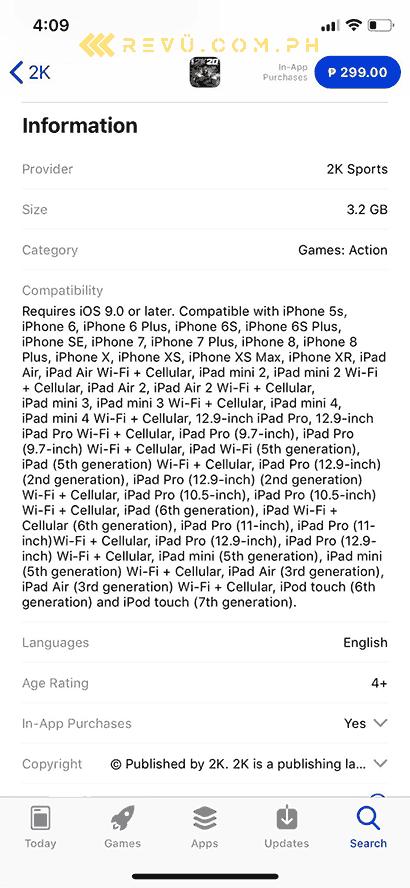 NBA 2K20 for iOS requirements via Revu Philippines