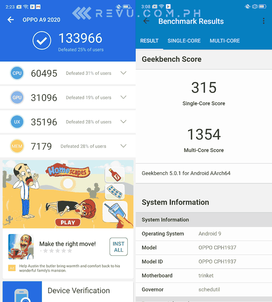 OPPO A9 2020 Antutu and Geekbench benchmark scores by Revu Philippines