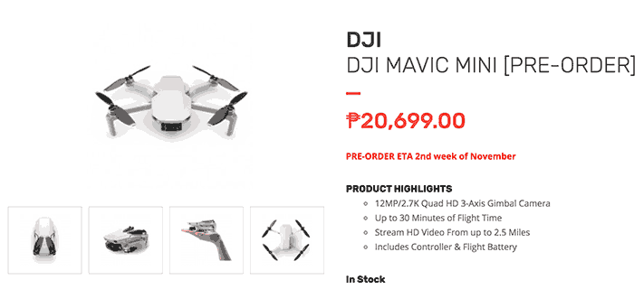 DJI Mavic Mini price and specs at Henry's Cameras via Revu Philippines