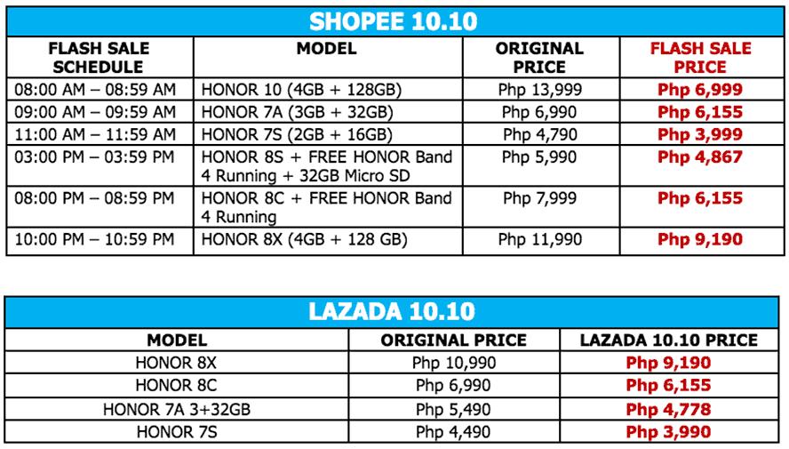 Honor smartphones 10.10 Lazada and Shopee flash sale via Revu Philippines
