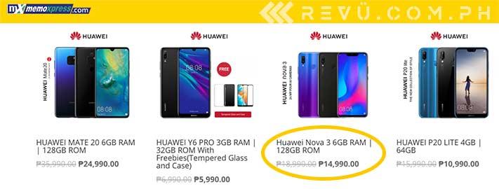 Huawei Nova 3 sale price and big price cut at MemoXpress (Oct 2019) via Revu Philippines