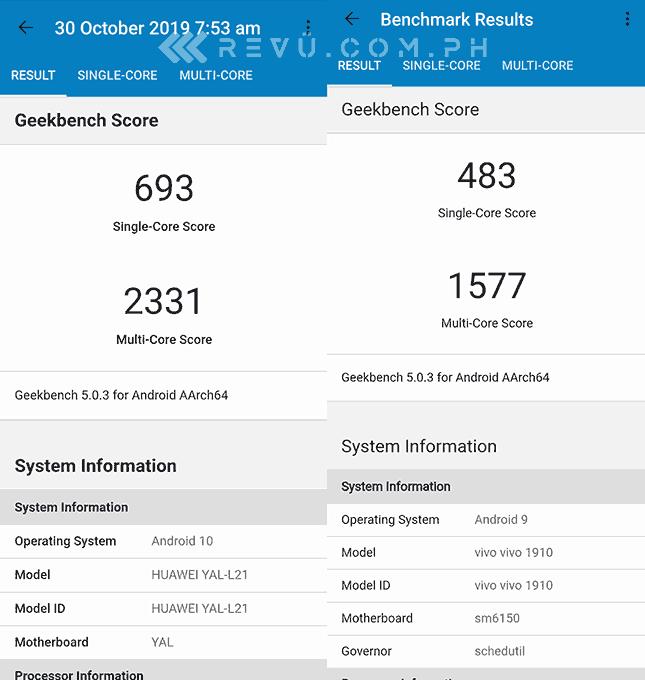 Huawei Nova 5T vs Vivo V17 Pro Geekbench benchmark scores comparison by Revu Philippines