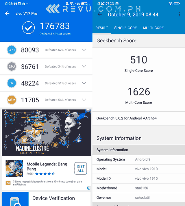 Vivo V17 Pro Antutu and Geekbench benchmark scores as tested by Revu Philippines