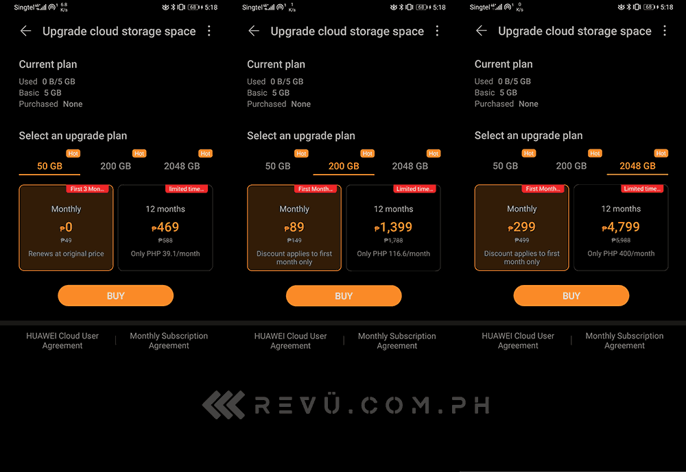 Huawei Mobile Services cloud storage promotion prices via Revu Philippines