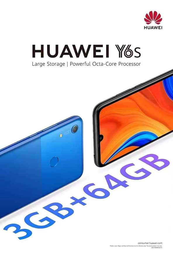 Huawei Y6s official marketing poster showing the design and key features of the phone via Revu Philippines