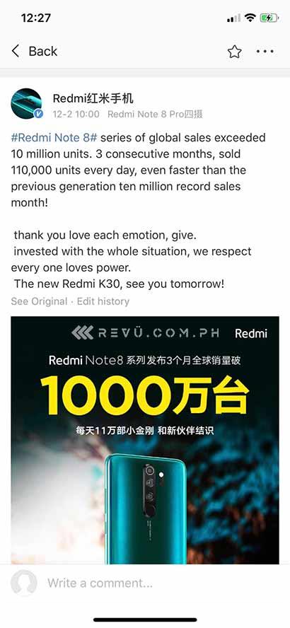 Redmi Note 8, Redmi Note 8 Pro, and Redmi Note 8T or Redmi Note 8 series 3-month record sales via Revu Philippines