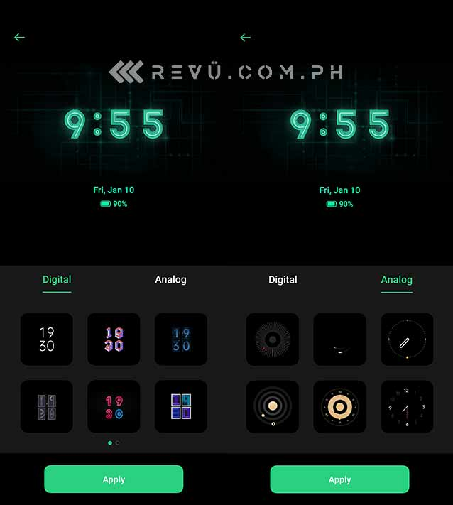 OPPO ColorOS 7 always-on display or off-screen clock feature via Revu Philippines