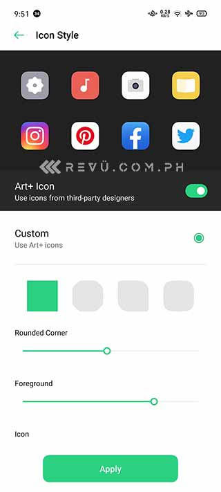 OPPO Android 10-based ColorOS 7's customizable icons via Revu Philippines