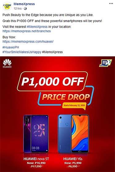 Huawei Nova 5T and Huawei Y6s price drop via MemoXpress by Revu Philippines