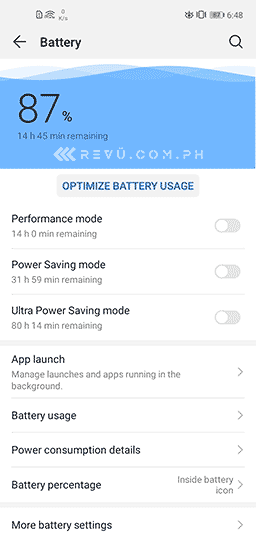 Huawei Y7p battery life settings screenshot via Revu Philippines