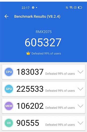 Realme X50 Pro 5G's highest Antutu benchmark score as of Feb 23, 2020 via Revu Philippines