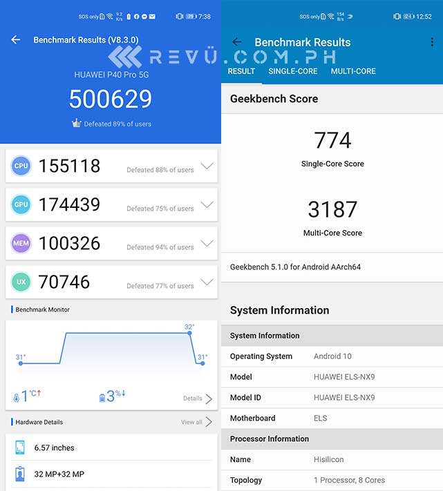 Huawei P40 Pro Antutu and Geekbench benchmark scores by Revu Philippines