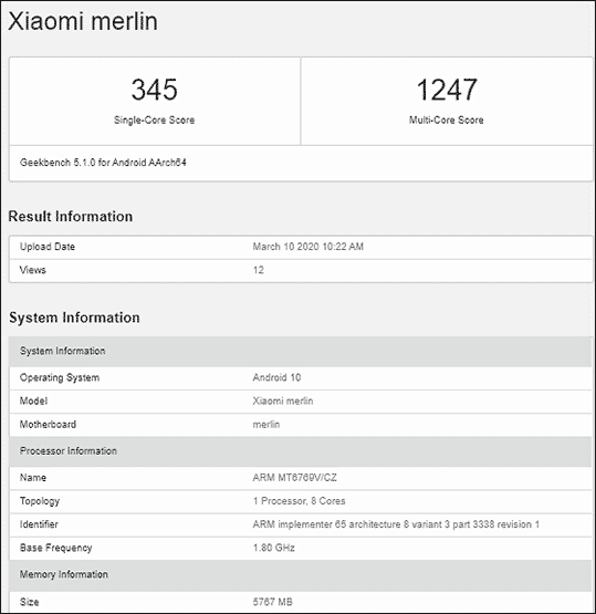 Is the Xiaomi Merlin with Geekbench benchmark scores the Redmi Note 9S? Via Revu Philippines