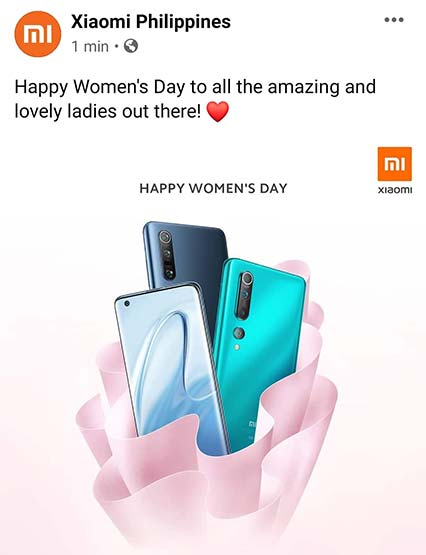 Xiaomi Mi 10 and Xiaomi Mi 10 Pro teaser on International Women's Day via Revu Philippines