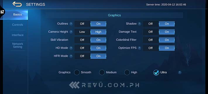 Huawei P40 Pro Mobile Legends High-Frame Rate or HFR mode settings via Revu Philippines