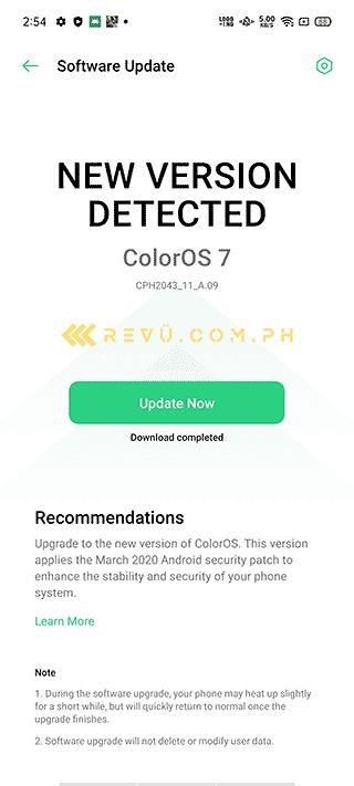 OPPO Reno 3 Android 10-based ColorOS 7 software update via Revu Philippines