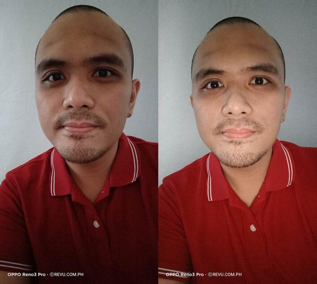 OPPO Reno 3 Pro sample selfie picture: auto vs ultra night selfie mode by Revu Philippines