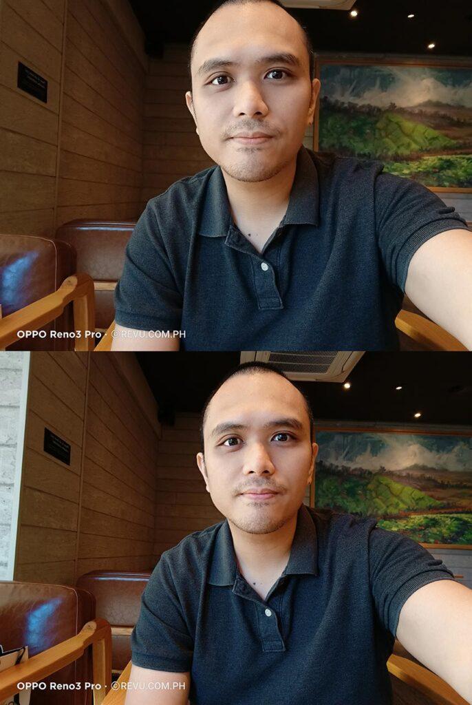 OPPO Reno 3 Pro sample selfie pictures: auto vs ultra-wide by Revu Philippines