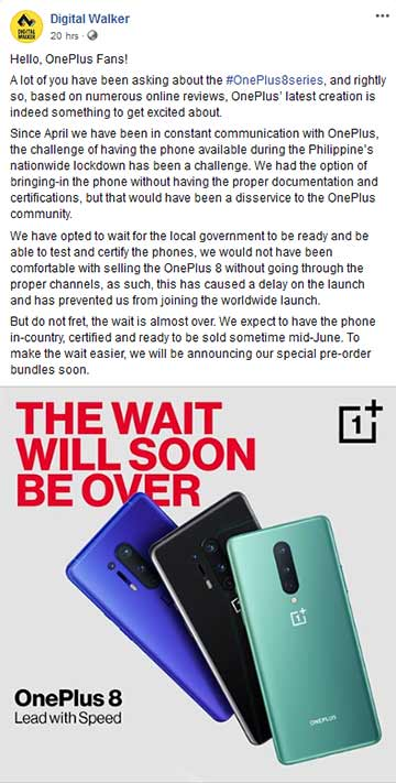 OnePlus 8 and OnePlus 8 Pro's local availability: Digital Walker's statement via Revu Philippines