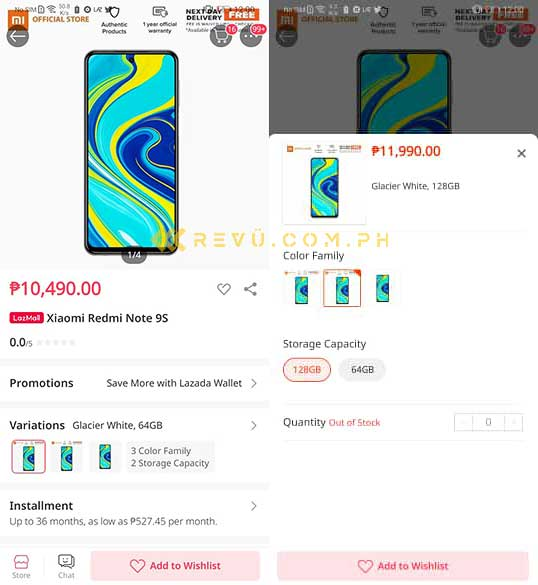 Xiaomi Redmi Note 9S price and specs in Lazada listing via Revu Philippines