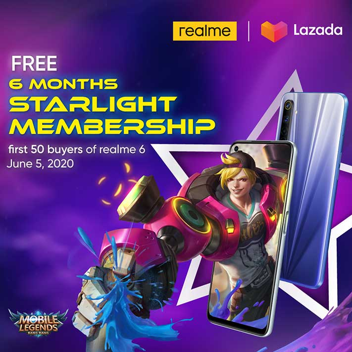 Free Starlight Mobile Legends subscription for Realme 6 buyers at Lazada 6.6 via Revu Philippines