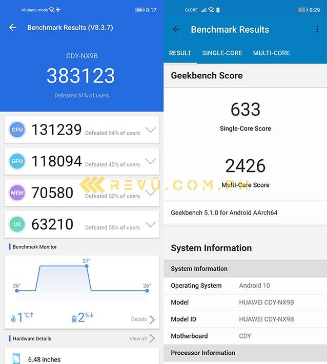 Huawei Nova 7 SE 5G Antutu and Geekbench benchmark scores by Revu Philippines
